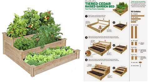 tiered cedar raised garden bed home design garden