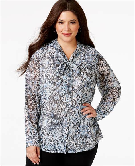 plus size chiffon blouse calvin klein plus size tie neck ombré print chiffon blouse