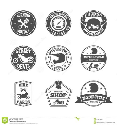 label garage vector motorcycle bikers repair biker race speed badge clubs service illustration motorcycling emblems tournament labels collection isolated motorbike