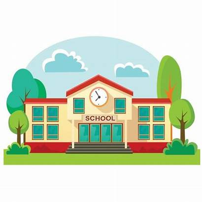 Clipart Building Elementary Schools Station Library Graphic