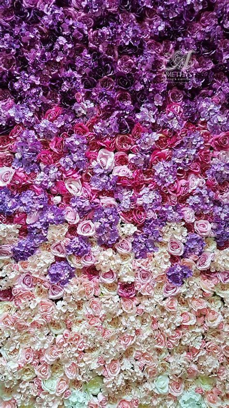 purple ombre flower wall
