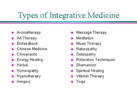 alternative medicine types of alternative medicine