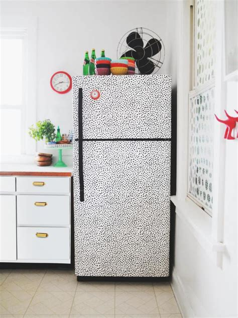 diy wallpaper decal fridge hgtv