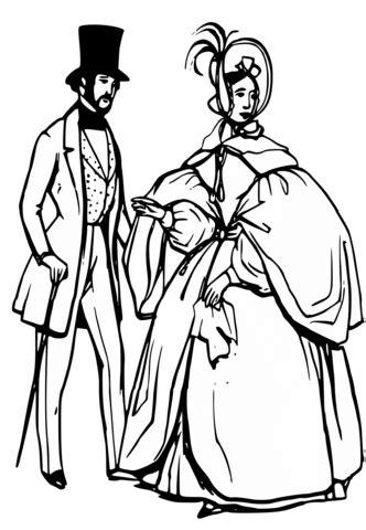 man  woman  victorian era coloring page