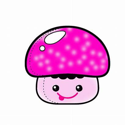 Kawaii Jamur Putih Drops Crystal Animasi Hitam