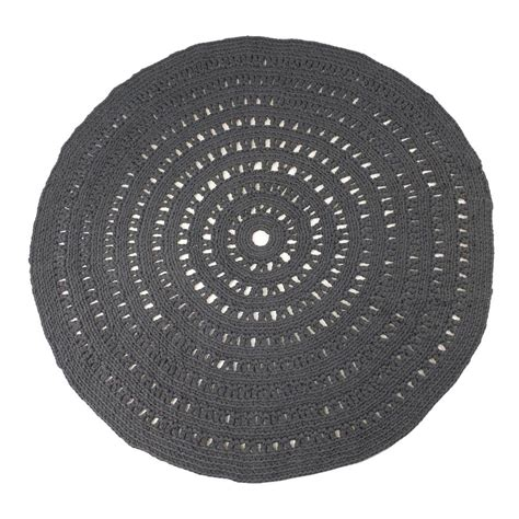 tapis rond crochet gris anthracite naco decoration