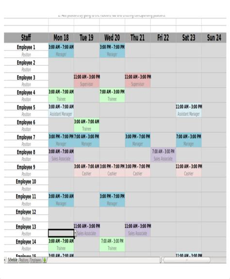 4+monthly Shift Schedule Templates + Free Word, Pdf Format