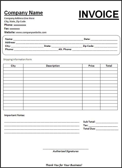 contoh invoice xls free printable invoice