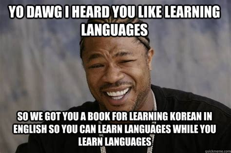 Learning Meme - yo dawg i heard you like learning languages so we got you a book for learning korean in english