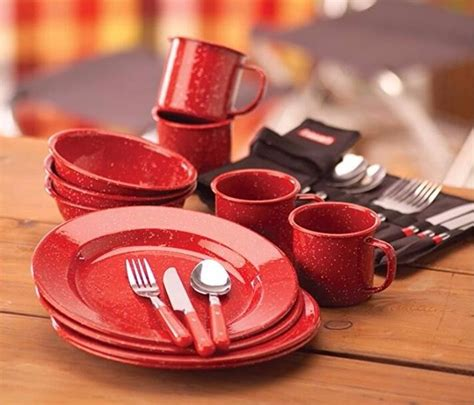 red camping emaille keramik geschirr sets buy emaille