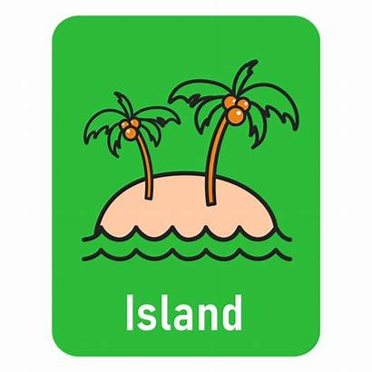 Flashcard Verde Ilha Isla Island Tarjeta Flash