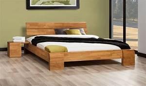 Vente lit chene massif tokyo haut avec sommier et matelas for Chambre ado garçon avec matelas bio 140x190