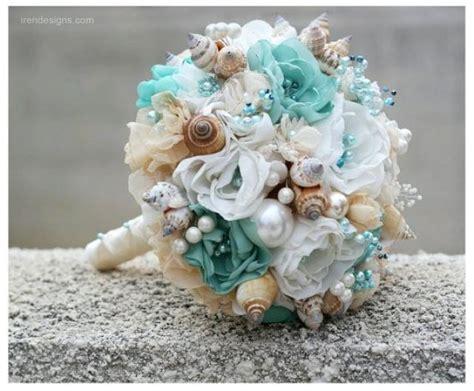 seashells wedding bouquet  beach wedding turquoise