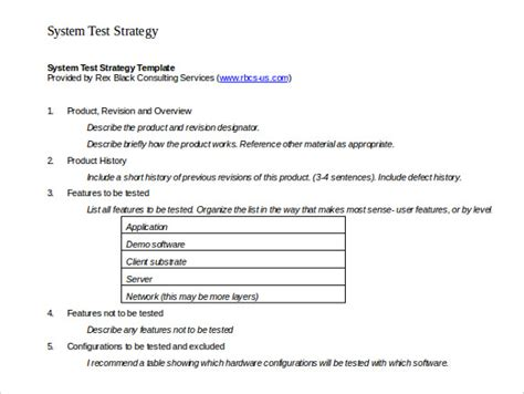 System Test Template by Test Strategy Template 11 Word Pdf Ppt Documents