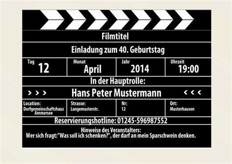filmklappe als einladung einladungskarten geburtstag