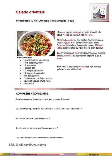 2 recette cuisine on apprend le français recette de cuisine salade orientale