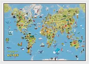Weltkarte Poster Kinder : kinder cartoon weltkarte poster geographische kunst mit ~ Yasmunasinghe.com Haus und Dekorationen