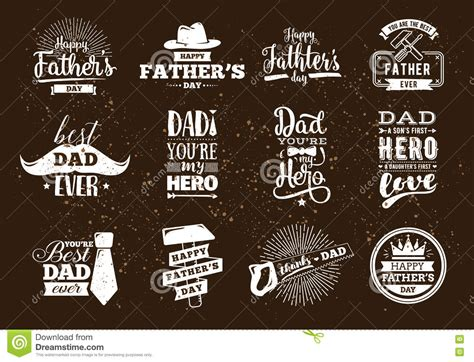 happy fathers day set vector typography stock vector image 72111549