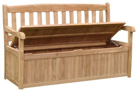 teak outdoor devon storage bench  contemporary