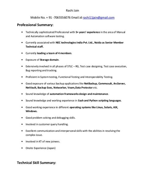 Test Engineer Resume Summary by Rashi Jain Resume Test Engineer
