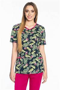 100 Cotton Scrubs Top Bd3 Palm Leaves And Flowers