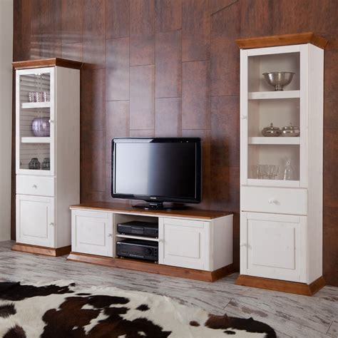Wohnwand Landhaus Wohnzimmer Boston In Weiß Cognac