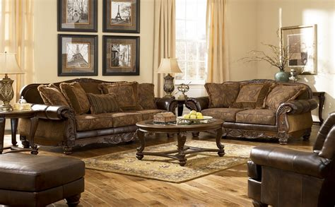 fresco durablend antique living room set  ashley