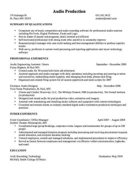 audio production resume sle resumes design