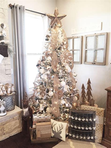 rustic farmhouse christmas mantel tree decor neutral