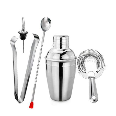 passionné de cuisine kit barman cocktail mixologie essentiels bar inox shaker 5