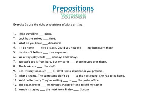 Grammar Exercises Prepositions Of Place And Time  Prepositionsprepositions Of Place At In On