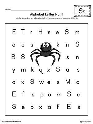 alphabet letter hunt letter  worksheet color
