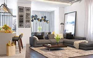 cuisine ouverte sur salon aux accents gris et jaunes With tapis jaune avec canapé design d angle