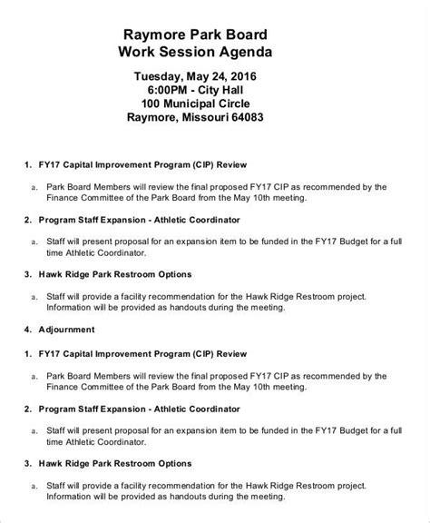 work agenda templates  sample  format