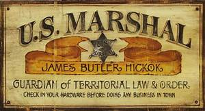Vintage Western Signs US Marshall Large Rustic Sign, 20x32