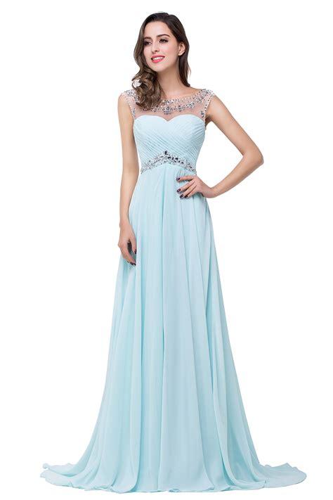 chiffon crystals long prom dresses royal blue hollow