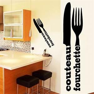 Couvert De Cuisine : sticker d co cuisine couverts en lettrage deco cuisine destock stickers ~ Teatrodelosmanantiales.com Idées de Décoration
