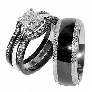 His hers 4 pcs black ip stainless steel cz wedding ring for Matching wedding and engagement ring sets