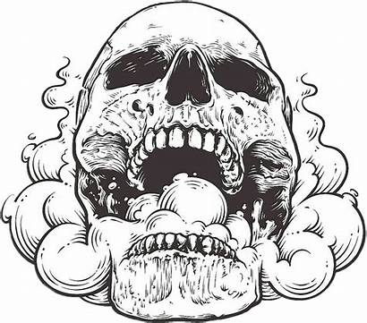 Skull Smoke Mouth Open Drawing Edgy Dark