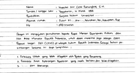 Surat Lamaran Cpns Kejaksaan Tulis Tangan by Contoh Surat Lamaran Kerja Cpns Dan Umum Ditulis Tangan