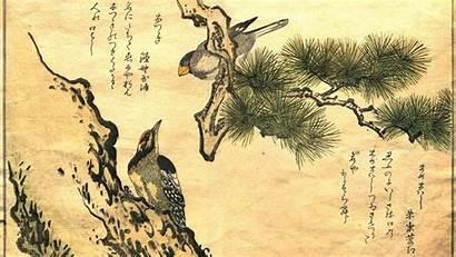 Japanese Utamaro Wallpapers Oriental Kanji Birds Artwork