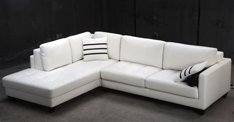 Contemporary White L Shaped Leather Sectional Sofa Modern