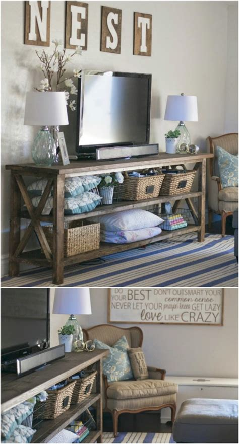 farmhouse tv console table give your media center a diy makeover with these 10