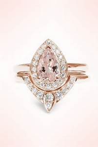 pear shaped morganite engagement ring and diamond wedding With gold wedding and engagement ring sets