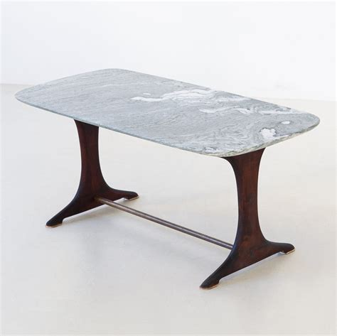Italian green marble coffee table. 1950s Italian Low Coffee Table with Marble Top   #120532