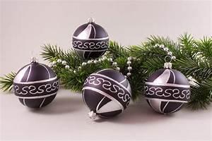 Weihnachtskugeln Aus Lauscha : 4 weihnachtskugeln 8cm schwarz silber christbaumkugeln ~ Orissabook.com Haus und Dekorationen