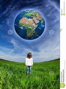 Child Looking At The Earth Planet Stock Image - Image ...