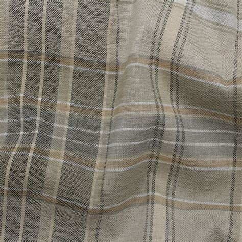 curtain and upholstery fabric designer discount linen look tartan check plaid curtain