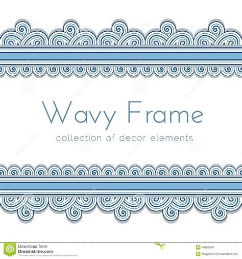 wave border frame stock vector image