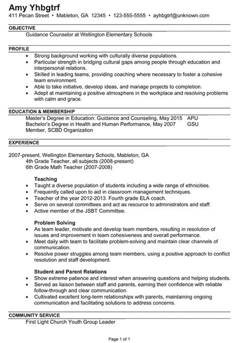 Format Resume Marriage Counseling by Sle School Counselor Resume Jennywashere